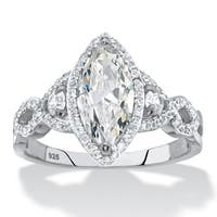 Marquise-Cut Cubic Zirconia Halo Crossover Engagement Ring 2.48 TCW in Sterling Silver Classic CZ