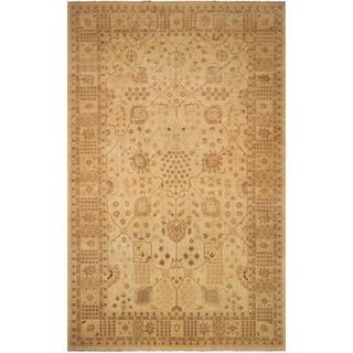 Arshs Fine Rugs Hand-Knotted Kafkaz Peshawar Geralyn Tan/Tan Wool Rug (12'1 x 17'11)