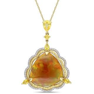 Miadora Signature Collection 14k Yellow Gold Ethiopian Yellow Sapphire and 1/3ct TDW Diamond Trilliant Halo Necklace