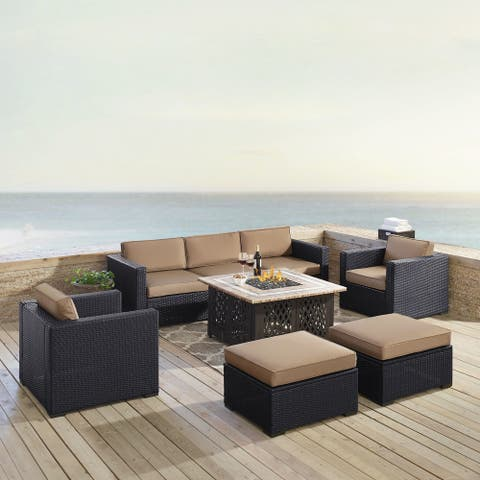 Biscayne 7 Piece Outdoor Wicker Set In Mocha