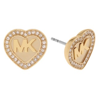 Michael Kors Stainless Steel Crystal Pave Logo Heart Stud Earrings