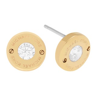 Michael Kors Stainless Steel Crystal Accent Logo Circle Stud Earrings
