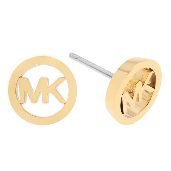 Michael Kors Stainless Steel Circle Logo Stud Earrings