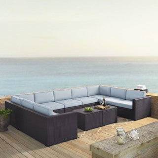 Biscayne 7 Piece Outdoor Wicker Seating Set In Mist - Four Loveseats, One Armless Chair, Two Coffee Tables