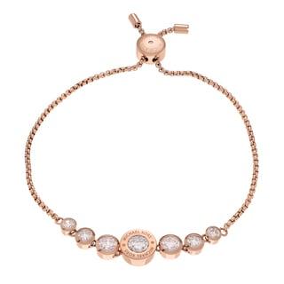 Michael Kors Rose Goldtone Stainless Steel Crystal Logo Slider Bracelet