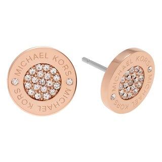 Michael Kors Rose Goldtone Stainless Steel Crystal Pave Disk Stud Earrings