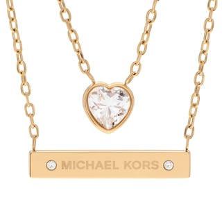 Michael Kors Goldtone Stainless Steel Crystal Accent Heart Double Layer Necklace