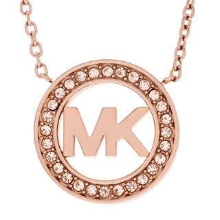 Michael Kors Rose-tone Stainless Steel Crystal Accent Logo Circle Pendant