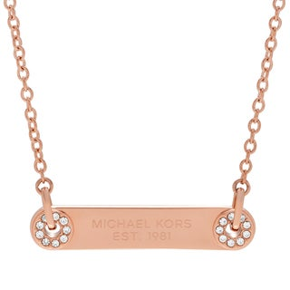 Michael Kors Rose Goldtone Stainless Steel Crystal Pave Logo Plaque Pendant