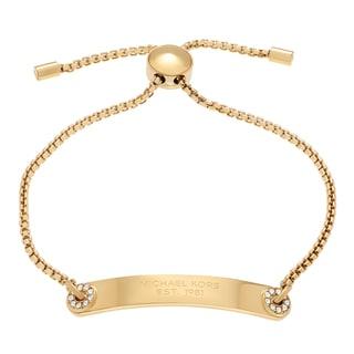 Michael Kors Stainless Steel Crystal Accent Logo Plaque Slider Bracelet