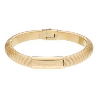 Michael Kors Goldtone Stainless Steel Logo Ridged Hinged Bangle Bracelet