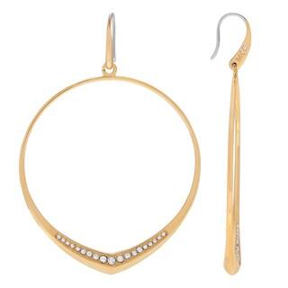 Michael Kors Stainless Steel Crystal Accent Hoop Earrings