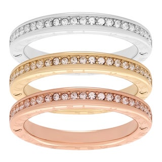 Michael Kors Tri-Tone Stainless Steel Crystal Three Band Stackable Ring