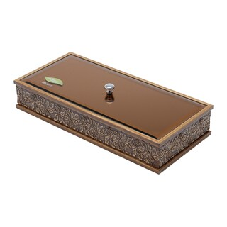 WoodArt Wolff Wood with Copper Glass Lid Flowers Decorative Box