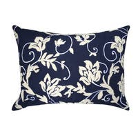 A1HC Blue-Beige Floral Embroidered 14x20-inch Cotton Throw Pillow