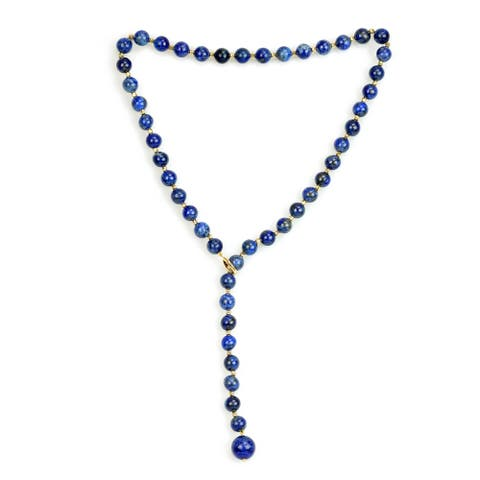DaVonna 14K Yellow Gold 8-12mm Blue Lapis Ball Bead Necklace Strand, 21 inch