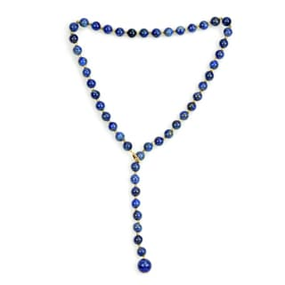 DaVonna 14K Yellow Gold 8 12mm Blue Lapis Ball Bead Necklace Strand 21 Inch