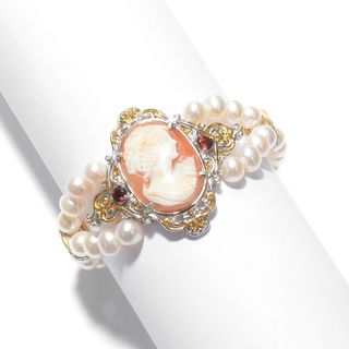 Michael Valitutti Palladium Silver Freshwater Cultured Pearl & Carved Shell Cameo Bracelet