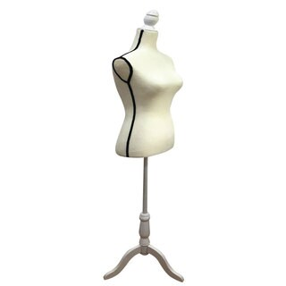 Stand Half-Length Fiberglass & Brushed Fabric Coating Lady Model for Clothing Display White & Black Edge