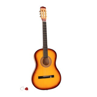 "38"" Acoustic Guitar Yellow, Pick, String"