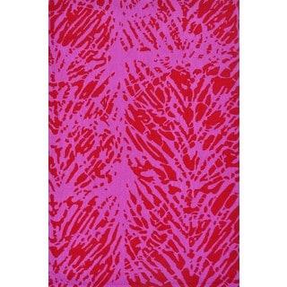 Handmade Pink Hooked Batik Leaf Area Rug (5' x 8')