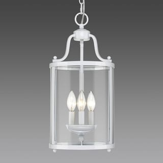 Golden Lighting Payton White Steel 3-light Pendant with Clear Glass