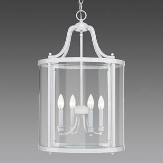 Golden Lighting Payton White with Clear Glass 4-light Pendant