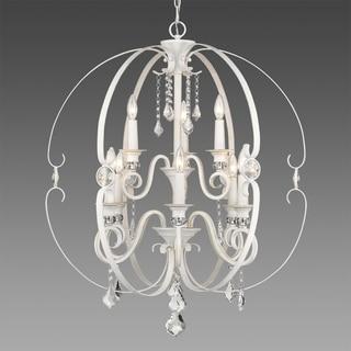 Golden Lighting Ella French White Steel 2-tier 9-light Chandelier