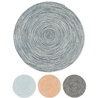 Boatside Tweed Round Indoor/Outdoor Reversible Braided Rug (9' Round) - 9' x 9'