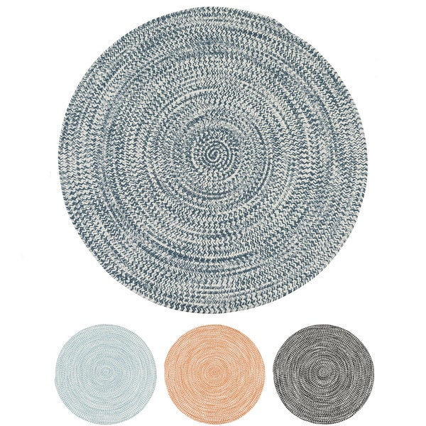 Colonial Mills Boatside Multicolor Tweed Round Indoor/Outdoor Reversible Braided Rug (5' Round) - 5' x 5'