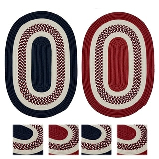 Colonial Mills Patriotic Oval Red/Blue Indoor/ Outdoor Reversible Braided Rug (7' x 9')