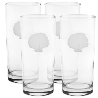 Seashell Clear Glass 15-ounce Cooler Glasses (Set of 4)