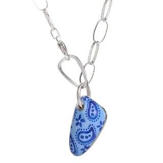 18K White Gold & Diamond Blue Paisley Pendant Necklace
