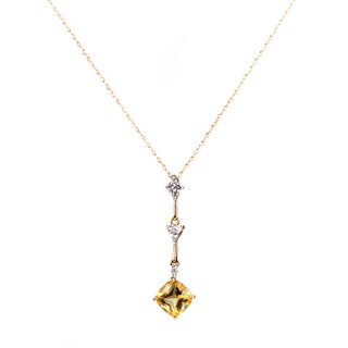 Women's 14K White and Yellow Gold Diamond and Citrine Pendant Necklace