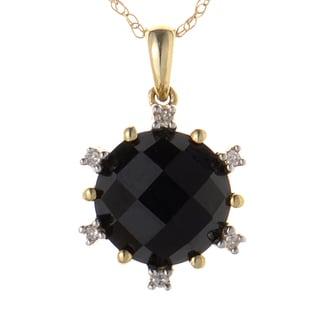 14K Yellow Gold Onyx and Diamond Pendant