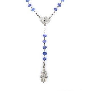 14/18K White Gold Diamond & Tanzanite Judaic Necklace