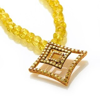18K Yellow Gold Citrine & Yellow Diamonds Pendant Necklace