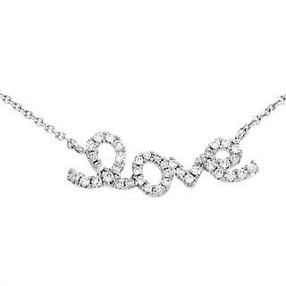 """Women's 18K White Gold Diamond """"Love"""" Necklace KE47741RBZ"""