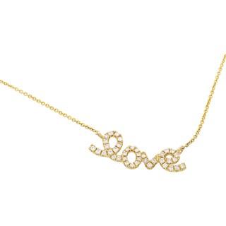"Women's 18K Yellow Gold Diamond ""Love"" Necklace KE47741RZZ"