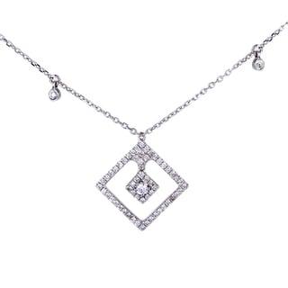 Women's 18K White Gold Diamond Pave Pendant Necklace KE88951RBZ