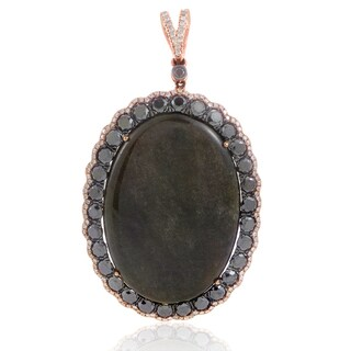 18K Rose Gold Onyx & Diamond Enhancer Pendant PD8-15255ROX