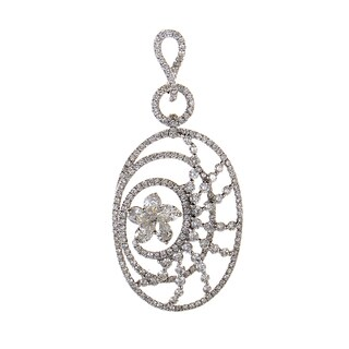 18K White Gold Diamond Flower Openwork 2.48 ct TDW Pendant CPD8781