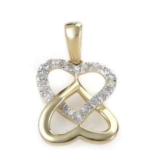 14K Yellow Gold & Diamond Overlapping Heart Pendant P9752Y