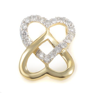 14K Yellow Gold & Diamond Overlapping Hearts Pendant P9753Y