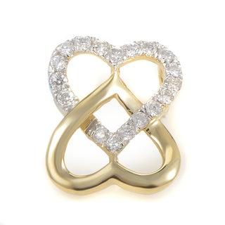 14K Yellow Gold & Diamond Overlapping Hearts Pendant P9753Y
