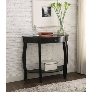 Delicieux Yvonne Half Moon Console Table With Drawer In Antique Black