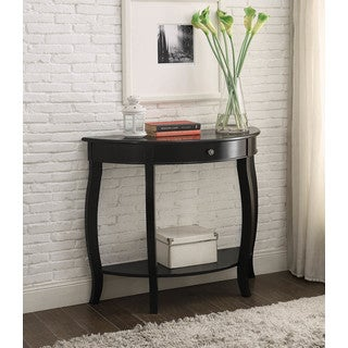 Yvonne Half Moon Console Table With Drawer In Antique Black