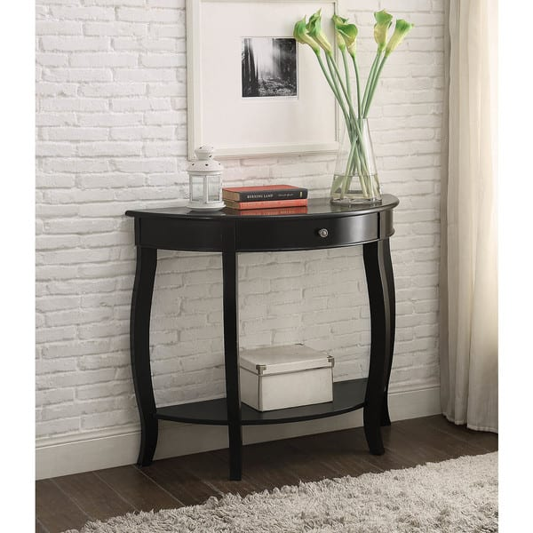 Yvonne Half Moon Console Table With Drawer In Antique