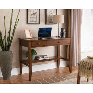 Clay Alder Home Gold Brook Sutton Writing Desk with Charging Station in Espresso