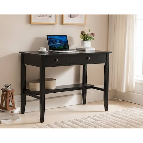 Copper Grove Matthiola Sutton Writing Desk with Charging Station in Black